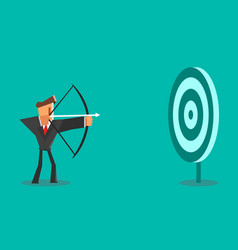 businessman aiming target business concept vector image