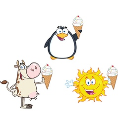 Cartoon animals with ice cream vector image
