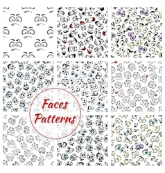 Cartoon faces seamless pattern background vector image