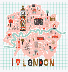 Cartoon map london with legend icons vector