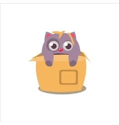 Cat emerging from box vector