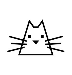 Cat icon black and white simple outline vector