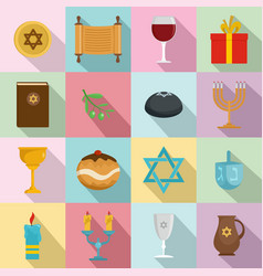 Chanukah jewish holiday icons set flat style vector