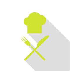 chef with knife and fork sign pear icon with flat vector image