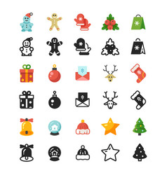 christmas festive flat icons and silhouette icons vector image