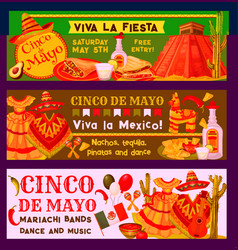 Cinco de mayo mexican fiesta party banners vector