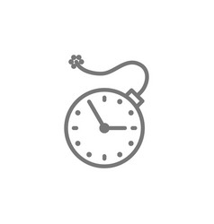 Clock with bomb explosion timer deadline line vector
