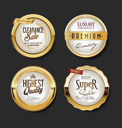 collection golden badges labels and tags 06321 vector image