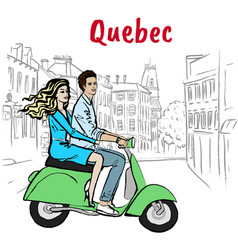 couple driving scooter on st jean street vector image