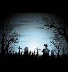Creepy cemetery halloween background with tree and vector