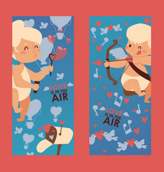 cupid babies on vertical banners vector image