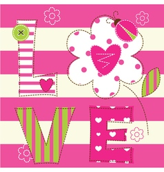 Cute baby background with letters and ladybug vector