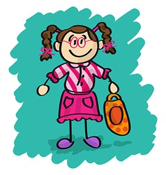 Cute cartoon little girl vector