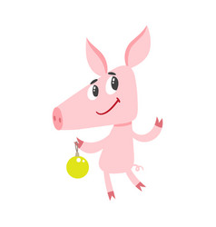 cute cartoon pig with christmas tree isolated on vector image