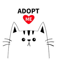 Cute cat face line silhouette adopt me red heart vector