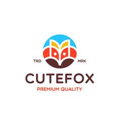 Cute fox logo design vector