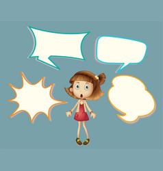cute girl with speech balloon vector image