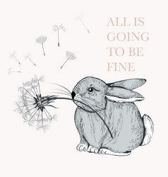 cute hand drawn rabbit holding dandelion vector image
