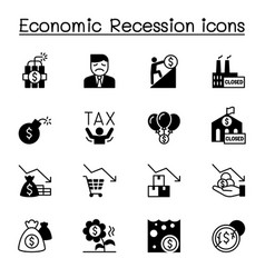 economic recession business crisis icons set vector image