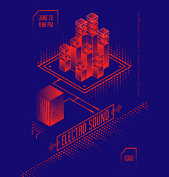 Electro sound music poster vector