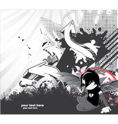 emo kid with 3d arrows vector image