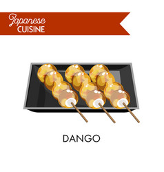 exotic japanese dango on wooden sticks in square vector image
