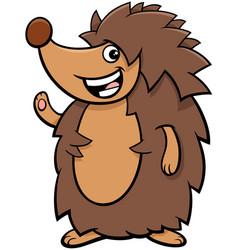 Funny hedgehog cartoon animal character vector