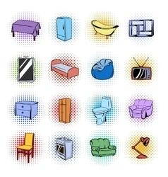 Furniture comics icons set vector image