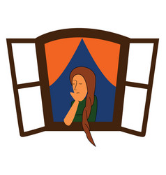 girl in window or color vector image