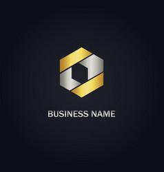 gold polygon shape company logo vector image