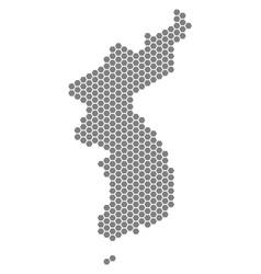 Gray hexagon north and south korea map vector