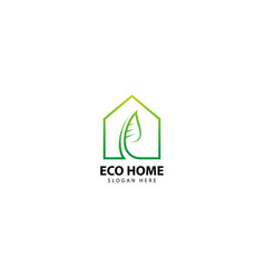 Green leaf in home eco logo vector