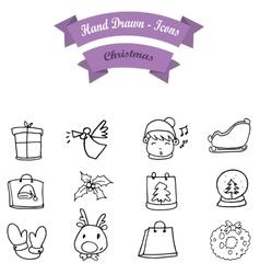 Hand draw Christmas icon set vector