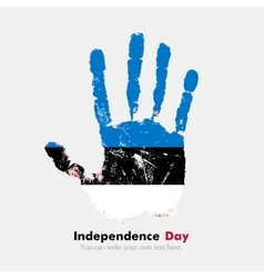 Handprint with the Flag of Estonia in grunge style vector image