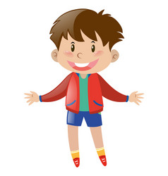 happy boy wearing red jacket vector image
