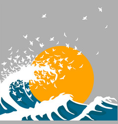 Huge waves turn into birds vector