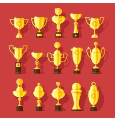 Icons set of golden sport award cups vector