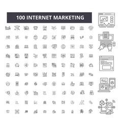 internet marketing editable line icons 100 vector image