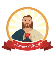 Jesus christ sacred heart religious vector