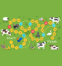 kids farm board game template vector image