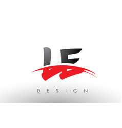 Le l e brush logo letters with red and black vector