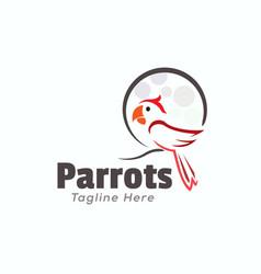 Line art outline parrot logo design inspiration vector
