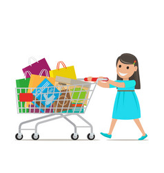 Little girl with shopping trolley makes purchases vector