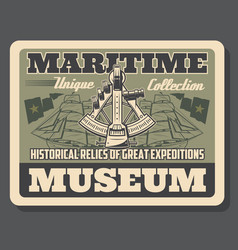 Maritime museum poster with navigation tools vector