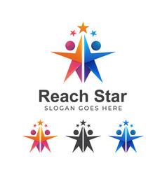 Modern color logo reach star or reaching dream vector