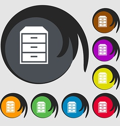 Nightstand icon Symbols on eight colored buttons vector