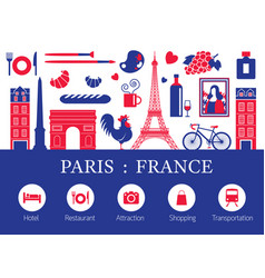 Paris france landmarks and travel objects with vector