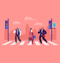 pedestrians crossing road at traffic light website vector image