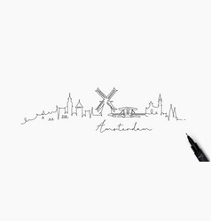 Pen line silhouette amsterdam vector