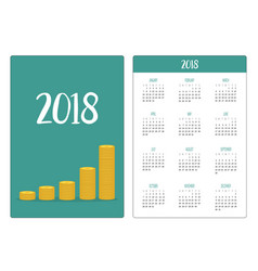 pocket calendar 2018 year week starts sunday gold vector image